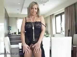 Ala In Black See Through Nightgown And Nude Pantyhose