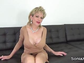 Buxom Bisexual Slutwife Lady Sonia Strokes Her Enormous Tits And Finger Fucks Juicy Twat In Lingerie