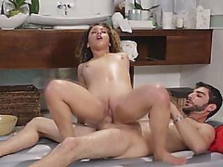 Curly Haired Babe Gives Nuru Massage And Gets Pussy Hammered