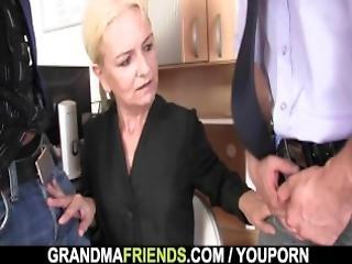 Skinny Granny Fucks For Work