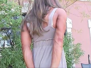 Muscle Girl Posing Outdoors