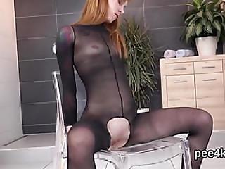 Stellar Teenie Is Peeing And Rubbing Shaven Vagina