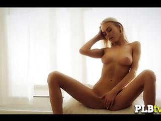 Blonde Chick Dances Around As She Fingers Her Cunt With Pleasure