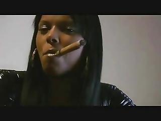 Fekete, Cigaretta, Fekete, Femdom, Latex
