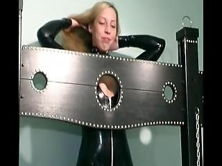 blonde, bondage, tâlons, latex, milf