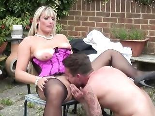 Blonde Cougar Gets Fucked Outdoor