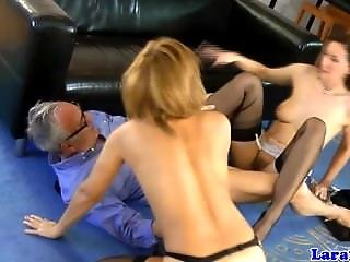 Garter Wearing Euro Mature And Teen Ffm Threeway