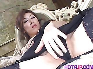 음핵, 일본의, MILF, 모델, 섹시한, 독주, 스타킹, 진동기