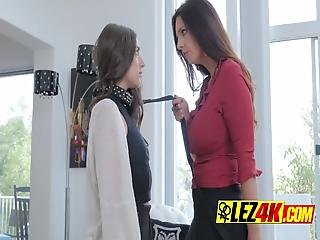 Slutty Lesbian Milf On High Heels Likes To Play The Master-slave Role Play With Her Lesbo Stepdaughter