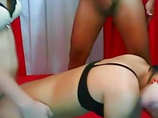 Ladyboy Three-some Gazoo Licking And Fucking Act
