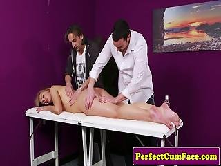 Massaged Beauty Covered In In Layers Of Cum