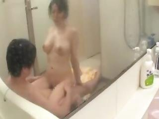 Japanese Mom And Son Having In Bathroom