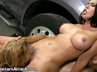 A Sexy Cock Riding Girl Gets Help From Comrade
