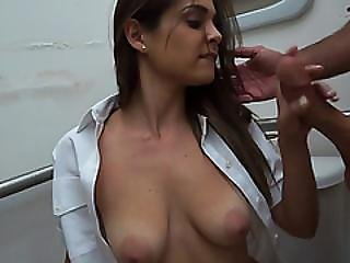 Hottie Stewardess Accepts Cash And Blows Big Head Behind The Counter