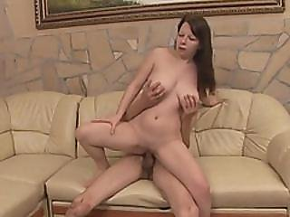 Chubby Brunette Gets Banged By Amputee On Couch