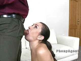 Fake Agent Shoves Cock In Sexy Brunette