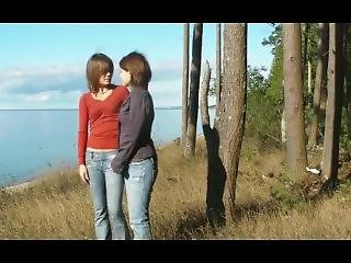 Lesbians Spanking In The Wood