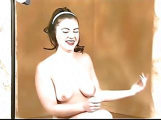 Sexy Brunette With Ponytail Gets Naked And Shows Off Her Clam
