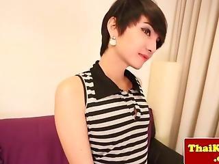 Asian Tgirl Teen Beautie Wanks Her Dick