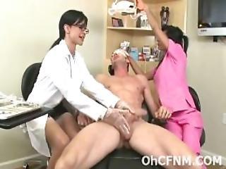 Sexy Brunette Dentist Wants His Hard Throbbing Cock