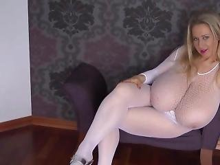 Huge Tits Blonde Stepmom Rocking Her Fishnet