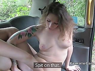 Lesbo Flash Natural Huge Boobs In Female Fake Taxi