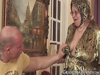 Chubby Grandma Bouncing On Cock And Having A Taste Of Cum! The Old Slut Did Not Get Drilling As Good As This In A Very Long Time!