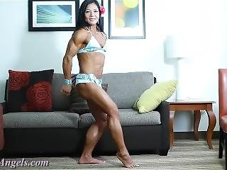 Muscle Goddesses Video #5 - Michelle Looking Amazing In Shiny Blue Outfit