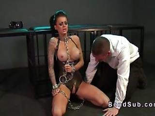 Chained Busty Slave Pussy Banged