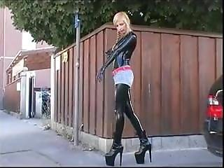 Blonde In Latex Catsuit Outdoors