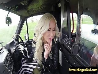 Inked Female Taxi Driver Railed On Backseat