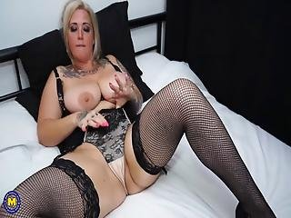Blonde Tattooed Milf Undressing And Masturbating