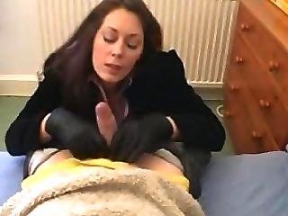 Fetish, Gloves, Handjob, Jerking, Leather