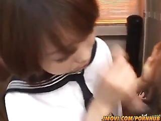 Miku Morimoto Naughty Asian Schoolgirl Gives Double Blowjobs In Close Up Fo