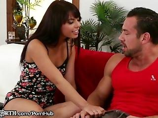 Gina Valentina Blackmails Hung Step-brother