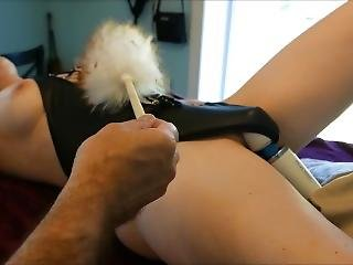 Wife Tied To Table And Hitachi Vibrator With Orgasm And Cum
