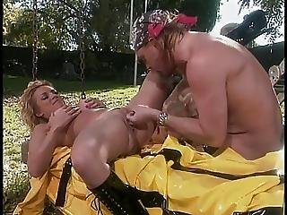 Hippy Fucks Two Busty Firefighting Blondes With Nice Asses In Field