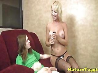 Busty Milf Sierra Luv In Stockings Jerks Cock