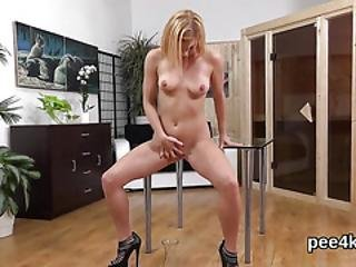 Enchanting Nympho Is Pissing And Rubbing Bald Fuckbox