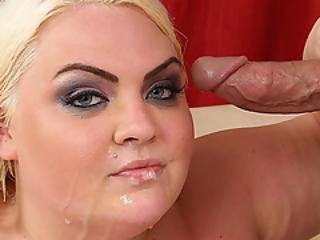 bbw, vakker, blond, rund, facial, fett, hardcore