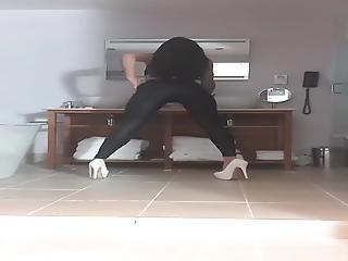 Stripper Shows Off Black Leggings