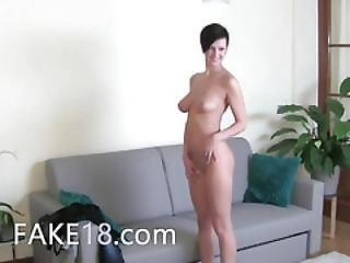 Horny Brunette Girl Sex On The Chair
