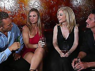 blondine, vierer, ficken, sexy