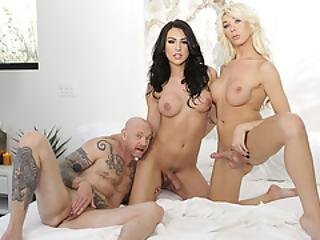 Ftm Buck Angel Gets Her Wet Pussy Fucked By Two Gorgeous Tranny