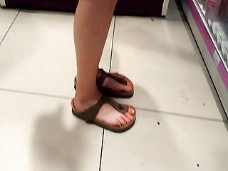 Candid Sexy Long Feets Toes In Birkens
