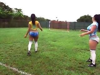 Big Ass Latina Playing Football Then Get Fucked