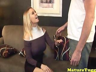 Mature Classy Amateur Tugging With Tits Out