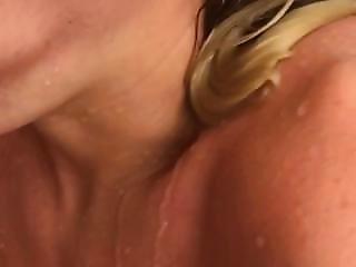 Blonde Big Tit Bombshell Deepthroats In Shower