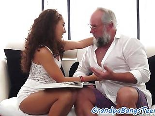 Curly Haired Teen Jizzed In Mouth After Getting Fucked By Grandpa