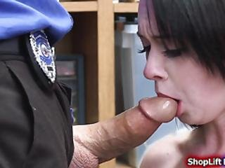 Busty Teen Shoplifter Throats And Fucked By Store Security